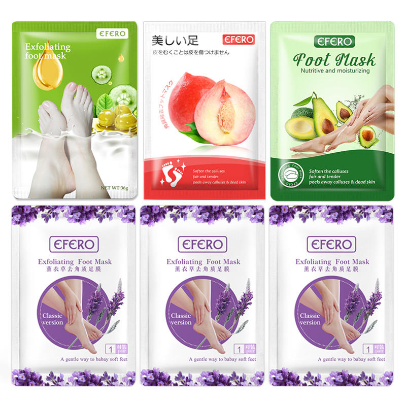 6pair Peel Foot Mask for Feet to Remove Calluses Anti Crack Heel Sock for Pedicure Moisturizing Exfoliating Feet Mask Spa