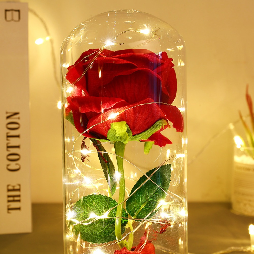 Eternal Flower Glass Cover Beauty And Beast Eternal Flower Rose In Flask 11