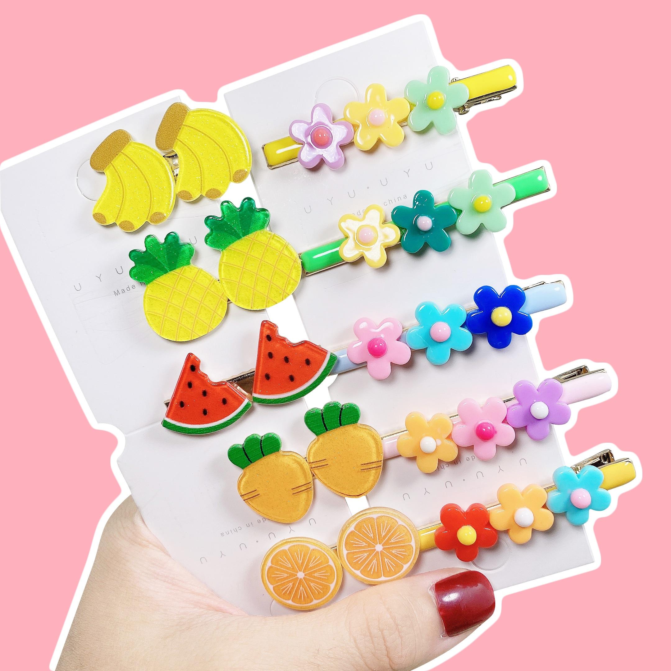 2pcs/Set Cartoon Girls Cute Cartoon Fruit Flower Hairpins Barrettes Kids Lovely Colors Baby Sweet Hair Clip Hair Accessories
