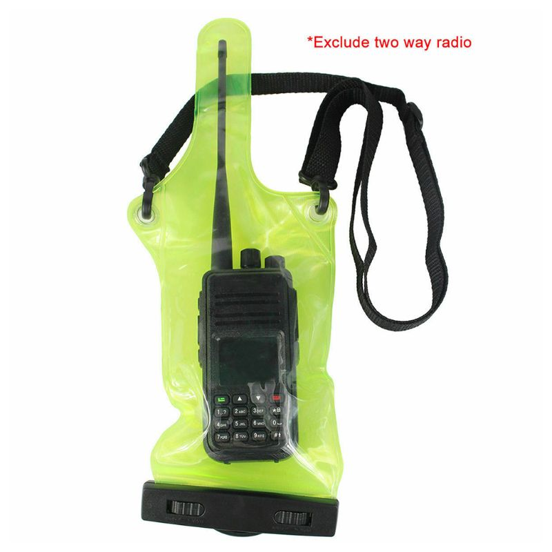 Green Waterproof Transparent Radio Bag Set Case Cover Protector For Walkie