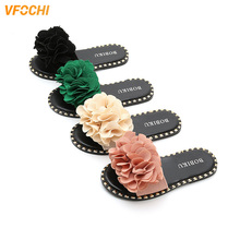 VFOCHI Girl Summer Slippers Bowknot Flats Mother Girl Shoes for Kids Teenager Girl Casual Slip-on Shoes Children Girl Slipper kawai girl soldier sailor moon the cat luna bowknot home cotton flannel slipper ma am indoor non slip floor slipper girl s shoes
