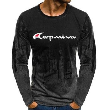 Купить со скидкой AERPMIVA Spring, summer and autumn casual men's thin section loose long sleeve pullover printed T-sh