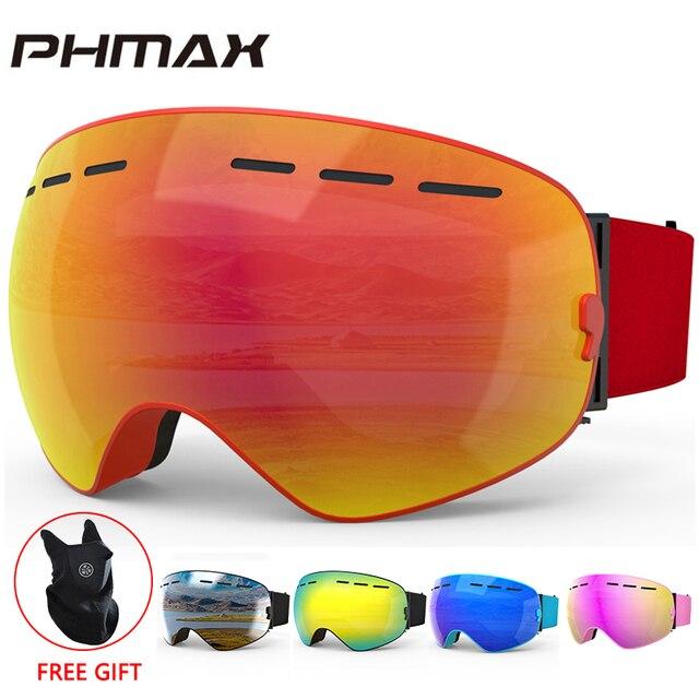 PHMAX Gafas de esquí de invierno con máscara de esquí, gafas de Snowboard, gafas de esquí de doble capa, protección UV400, gafas para nieve esquí antiniebla