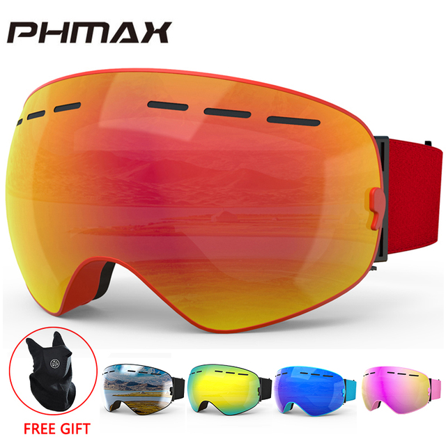Phmax óculos de esqui de inverno com máscara de esqui snowboard óculos de esqui camadas duplas uv400 proteção anti nevoeiro neve óculos de esqui