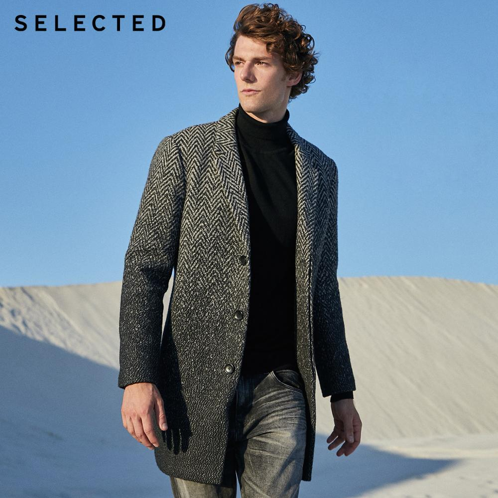 SELECTED Men's Wool-blend Coat Lapel Winter Jacket Male New Outwear Clothes S   418427554