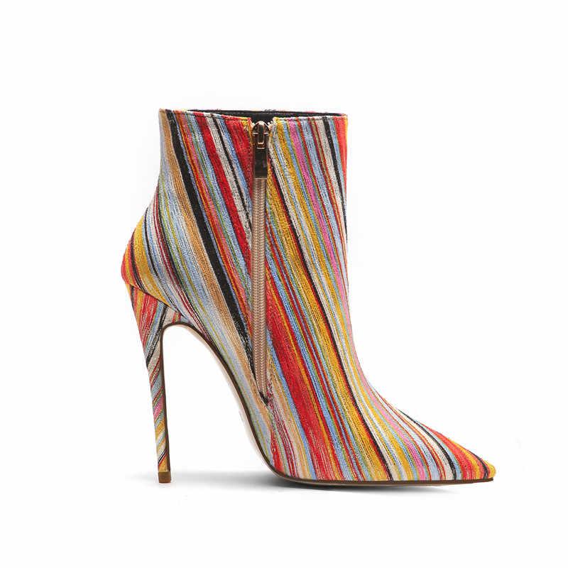 MORAZORA 2020 yeni varış kadın yarım çizmeler renkli şerit sonbahar kış çizmeler seksi ince yüksek topuk parti düğün ayakkabı kadın