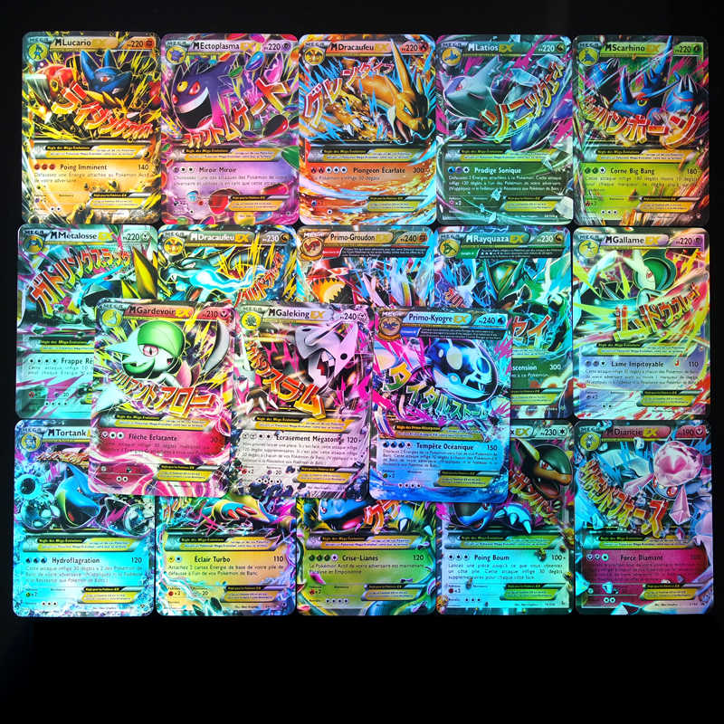18 sztuk/pudło Pokemon karty francuski MEGA EX Flash Box Pikachu fiszki kolekcja prezent dla dzieci Pokemon zabawki