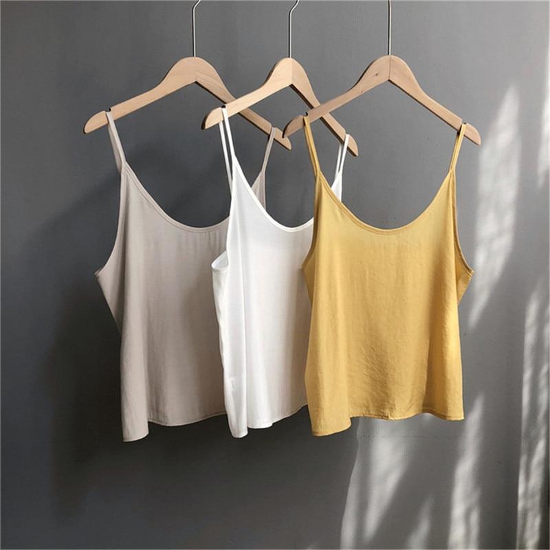 High quality 2pcs Women Blouse Shirt 2020 Summer Solid All match Satin Blouses Shirts Femal Blouse+halter tops Z1082 (6)