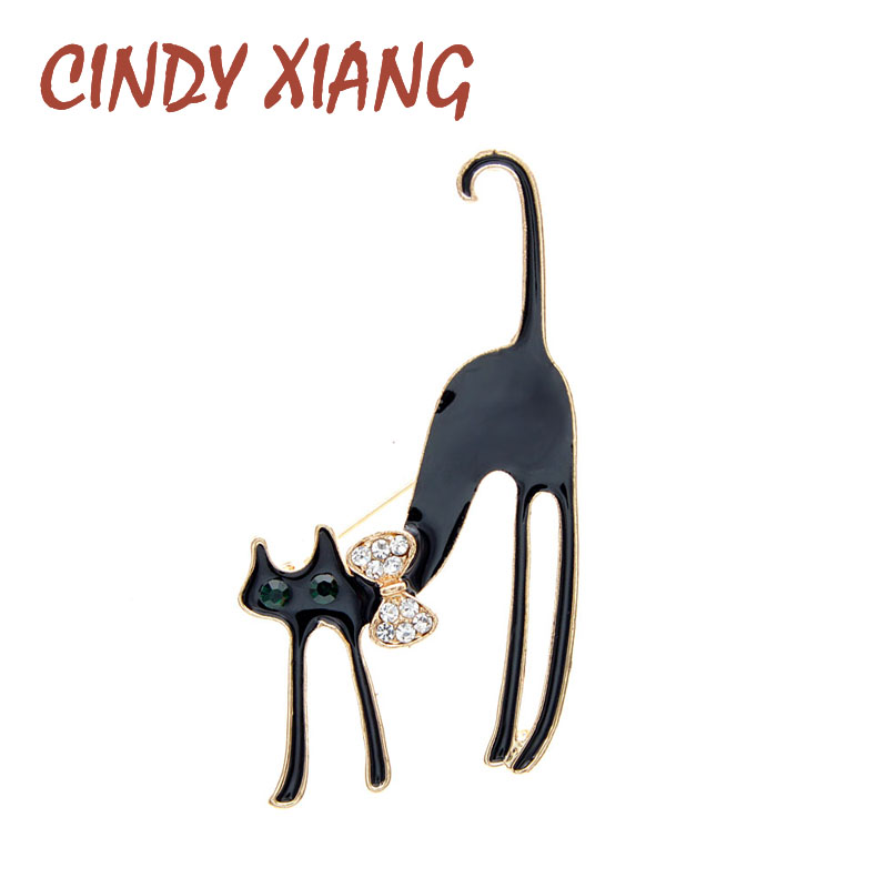 CINDY XIANG 2 Colors Available Cat Brooch Black And White Pin Animal Design Jewelry Fashion Accessories High Quality New 2020
