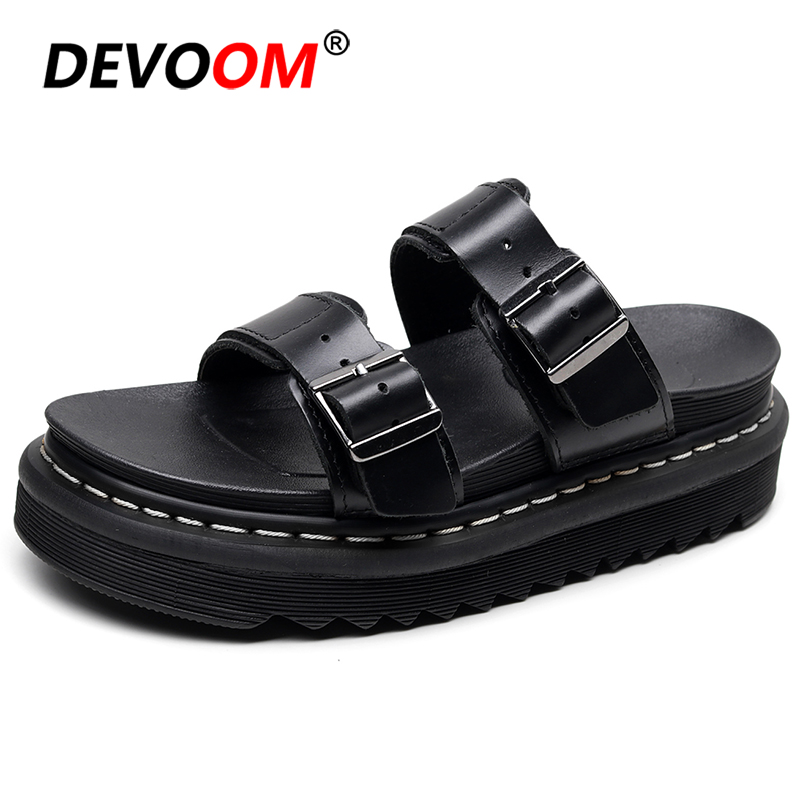 Outdoor Beach Sandals Women Genuine Leather Slippers Summer Platform Female Shoes Non-slip Sandalias Mujer 2020 Flip Flops Women