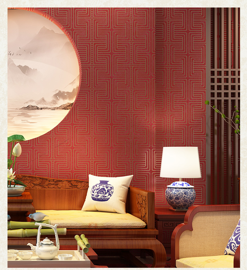 Rouge classique Style chinois treillis papier peint étude salon hôtel Restaurant entrée TV fond géométrique papier peint gris
