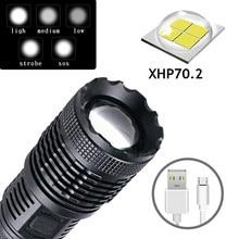Super Bright P70 LED Flashlight USB Charging T6 Waterproof Torch Multi-function Adjustable Focus 4 Lighting Modes