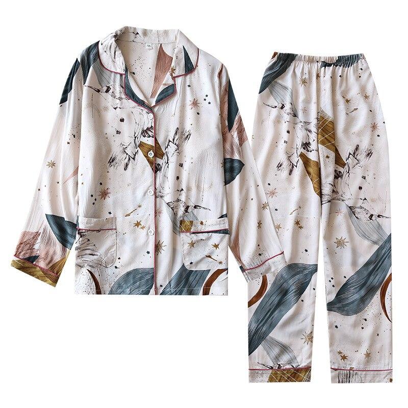 Printemps/été 2020 nouveau 100% viscose à manches longues pantalon dames pyjamas costume simple style long pyjamas femmes service à domicile
