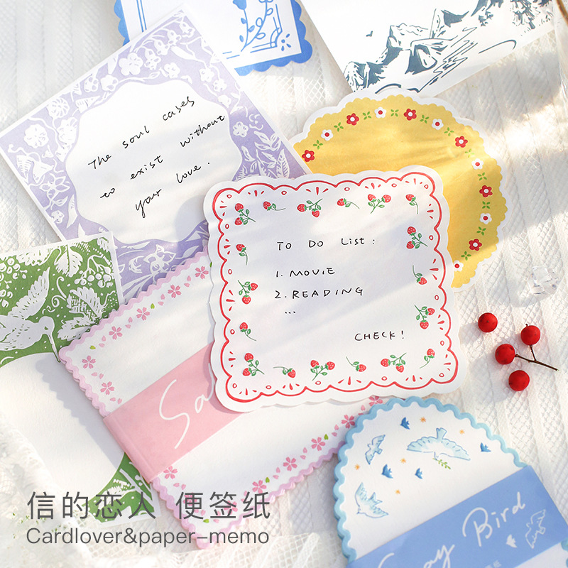 20 Sheets Flower Lace Series Bird Memo Pad Cute Message Notes Decorative Notepad Note Paper Memo Stationery Office Supplies
