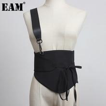 Button Belt Women EAM Metal Black New-Fashion Autumn All-Match Spring Tide Pu 1DD1740