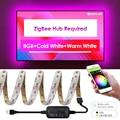 Мини zigbee контроллер смарт-вещей ТВ светодиодный комплект полосы света 5 в usb rgb + cct компьютер светодиодный свет полосы работы с zigbee концентра...
