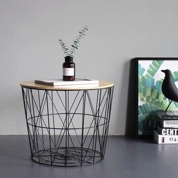Небольшой журнальный столик из твердого дерева, небольшой круглый столик, прикроватный столик, угловая корзина для хранения, корзина для хр...