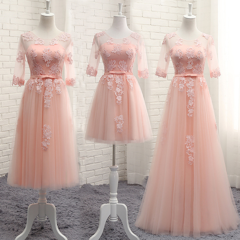 New Pink Lace Long Bridesmaid Dresses Sexy A Line Chiffon Dress For Wedding Party A-line Formal Dresses Elegant Prom Party Dress