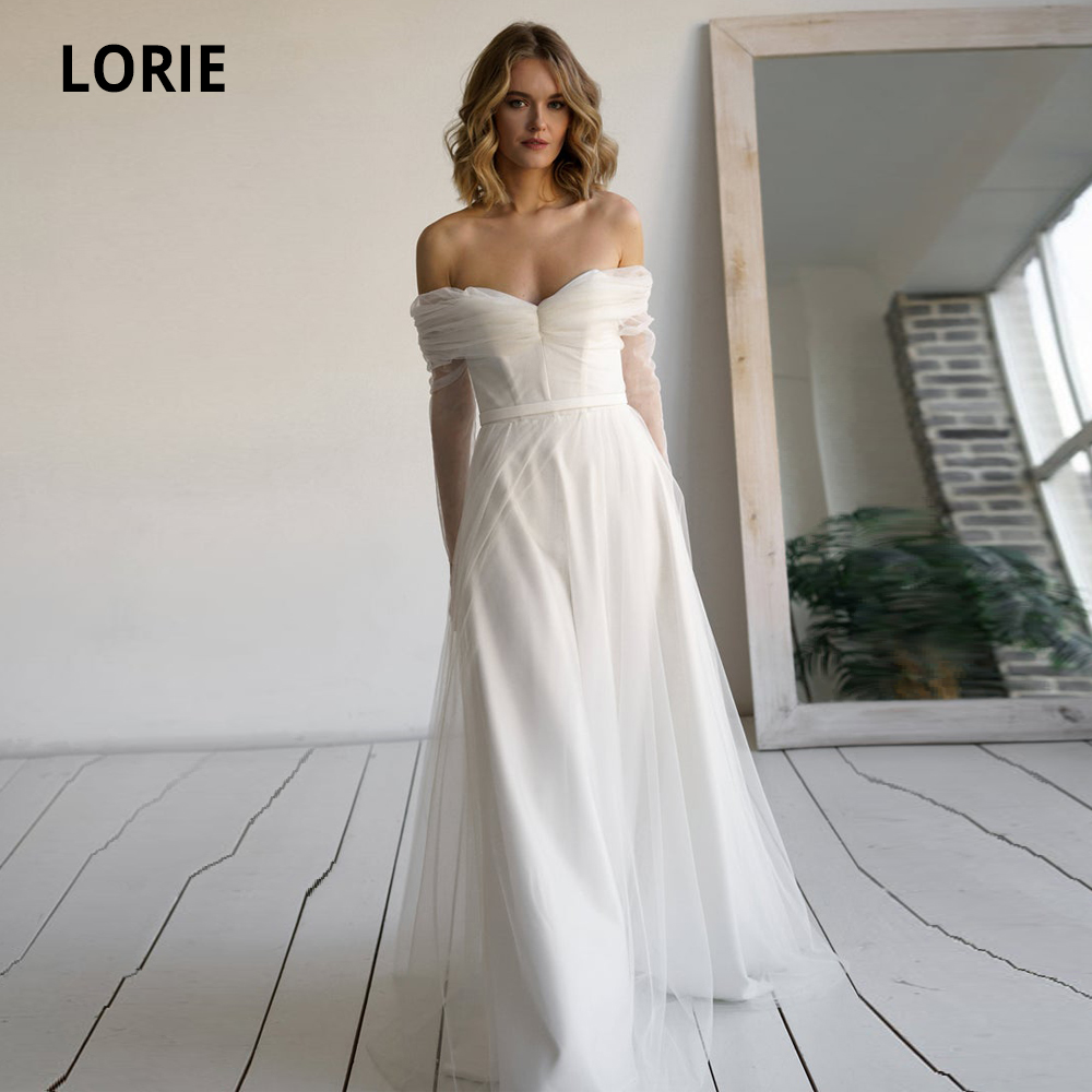 LORIE Simple Satin Tulle Wedding Dresses With Long Sleeve Off The Shoulder Open Back Princess Gowns Custom Made Sukienki Damskie