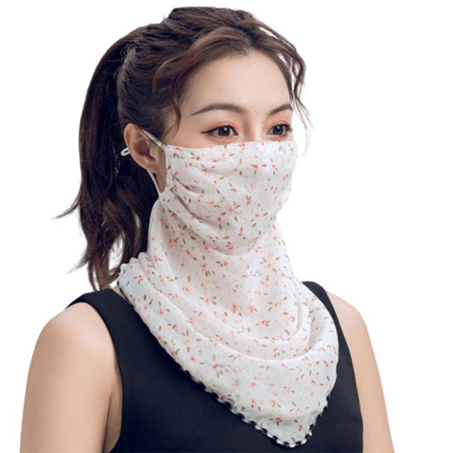Rose Flower Women Summer Chiffon Anti-UV Thin Scarf Neck Face Cover Shawl face-mask protection 1