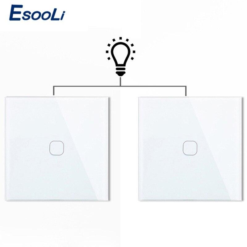 Esooli ue 1 gang 2 way controler de luz parede inteligente interruptor toque automação residencial à prova dwaterproof água e à prova fogo 2 gang