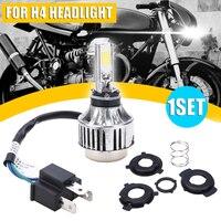 Heiße Neue Mayitr 1 Set H4 COB BA20D Hallo/Lo Strahl Motorrad Scheinwerfer Weiß LED Front Licht Lampe Birne 6500K auf