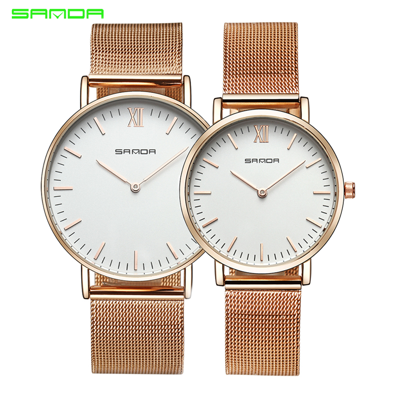 Sanda Stainless Steel Ultra Thin Watch Fashion Rose Gold Quartz Lover's Watches for Women Men 2017 Brand Luxury Mens Watches