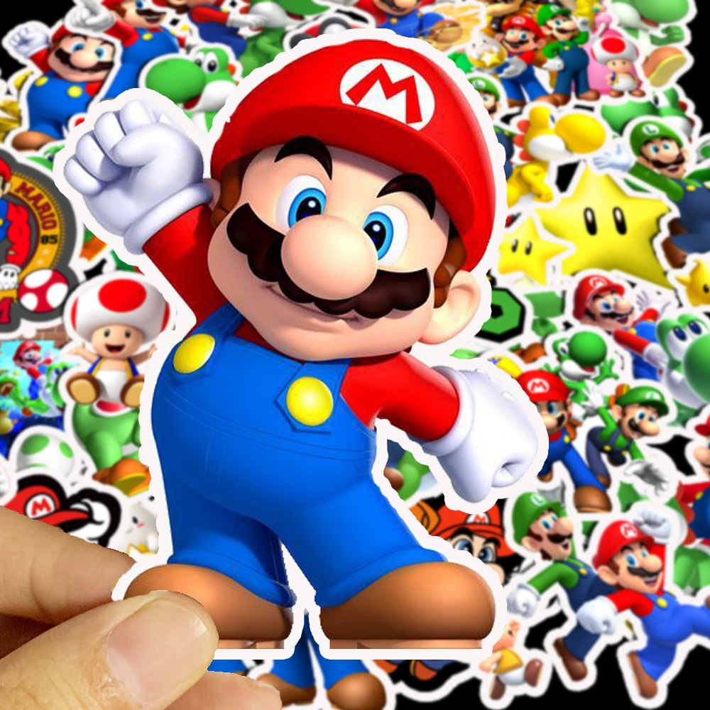 50pieces Super Marioes Game Stickers For Wall Decor Fridge Motorcycle Bike Refrigerator Laptop Car Stickers No Repeat