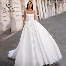 SWANSKIRT Shiny Lace Satin Wedding Dress 2020 Classic Square Collar Sleeveless A Line Princess Vestido de novia I302 Bridal Gown