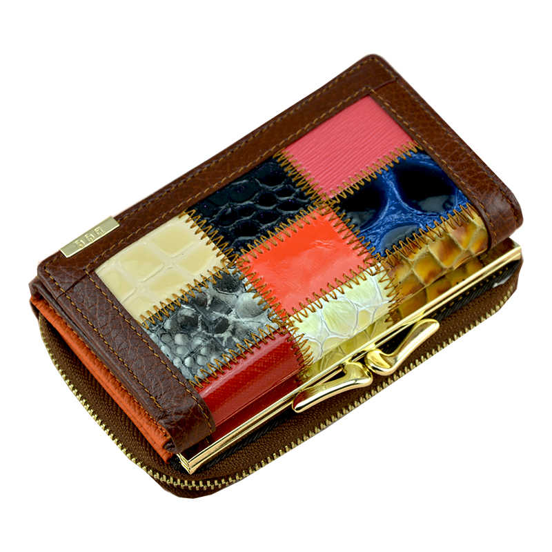Small Mini Patchwork Genuine Leather Wallet Women Trifold Leather Purse Female Short Coin Bag Purse Wallet Lady Money Bag
