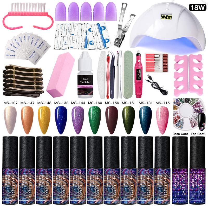 MSRUIOO 5ml Nail Art Set With UV LED Lamp Dryer 10 Colors Gel Nail Polish Kit Nail Tools DIY Gel Varnish Manicure Tools Kits
