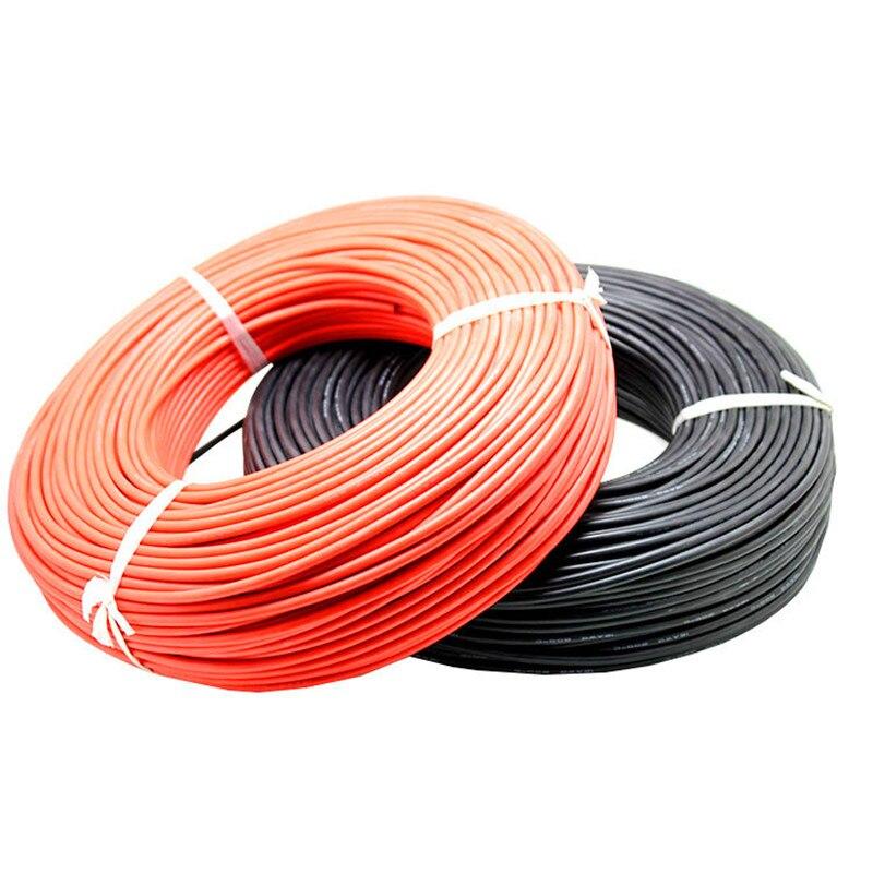 Câble Silicone souple de haute qualité 5 mètres fil silicone haute température extra doux 8 10 12 14 16 18 20 22 24 26 AWG