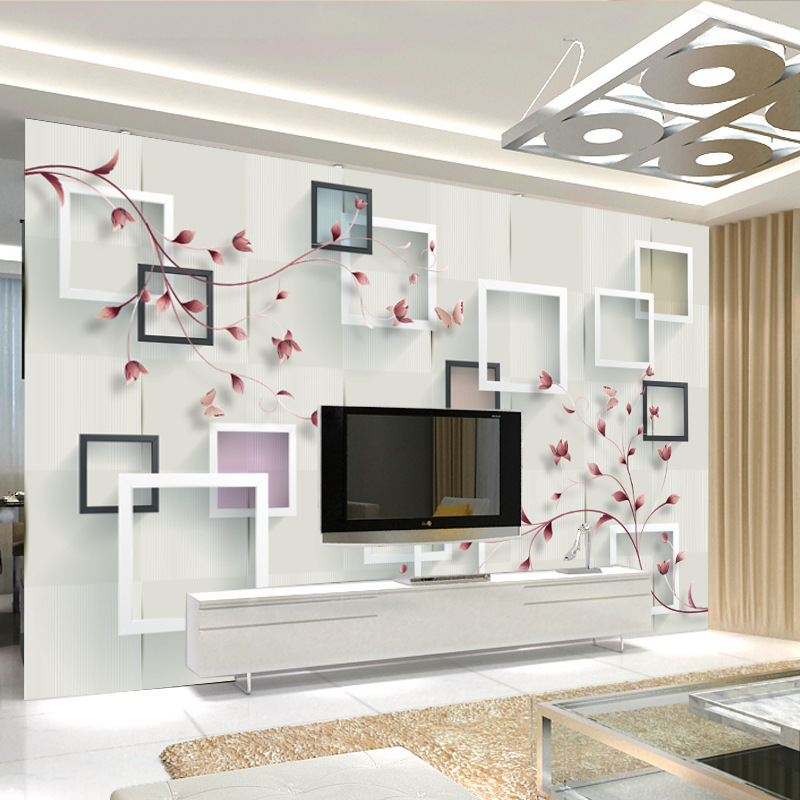 Modern Minimalist 3D Living Room Television Background Wall Renderings Whole Piece Film And Television Wallpaper Mural