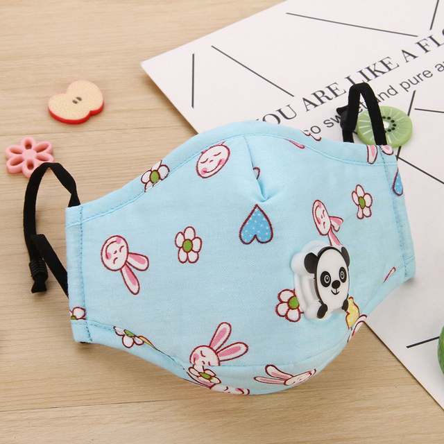 Lovely Kids Children Anti Haze Dust Mask PM2.5 Washable Muffle Bacteria Flu Nose Filter Face Respirator With Valve 4