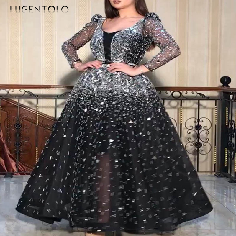 Lugentolo Maxi Dress Women Sequins Big Swing Lace Mesh Long Sleeve Round Neck Sexy Black Empire Solid Womens Party Dress