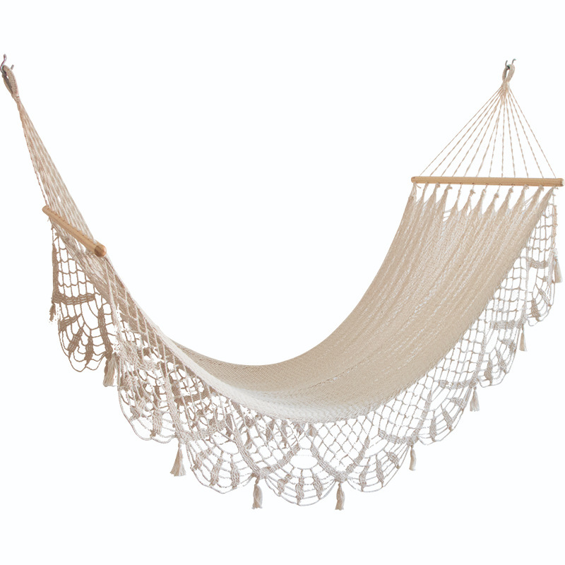 Outdoor Wooden Stick Weaving Bohemian Lace Tassels Hammock Indoors And Outdoors Camping Casual Extra-large Canvas Hammock