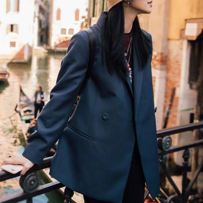 Wool-blend single button women suits coat loose casual Blazers coat