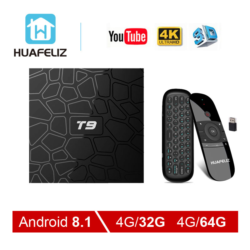 Android 8 1 TV Box T9 Tv Box 4GB 64GB T9 RK3328 Quad Core 4G 32G