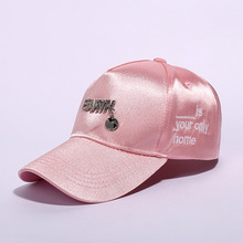 Fashion Personality Baseball Cap Women with Pendant Earth Letter Girl Pink Black White Casquette