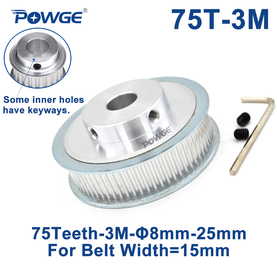 POWGE <font><b>75</b></font> Teeth HTD 3M Synchronous Pulley Bore 6/8/10/<font><b>12</b></font>/15/17/19/20/25mm for Width 15mm 3M Timing belt HTD3M pulley 75T 75Teeth image
