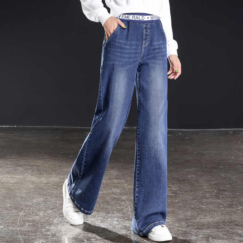אופנתי רגל רחב גבוה מותן עם מכתב קלאסי החבר ג 'ינס מלא אורך loose מכנסיים בתוספת גודל mujer