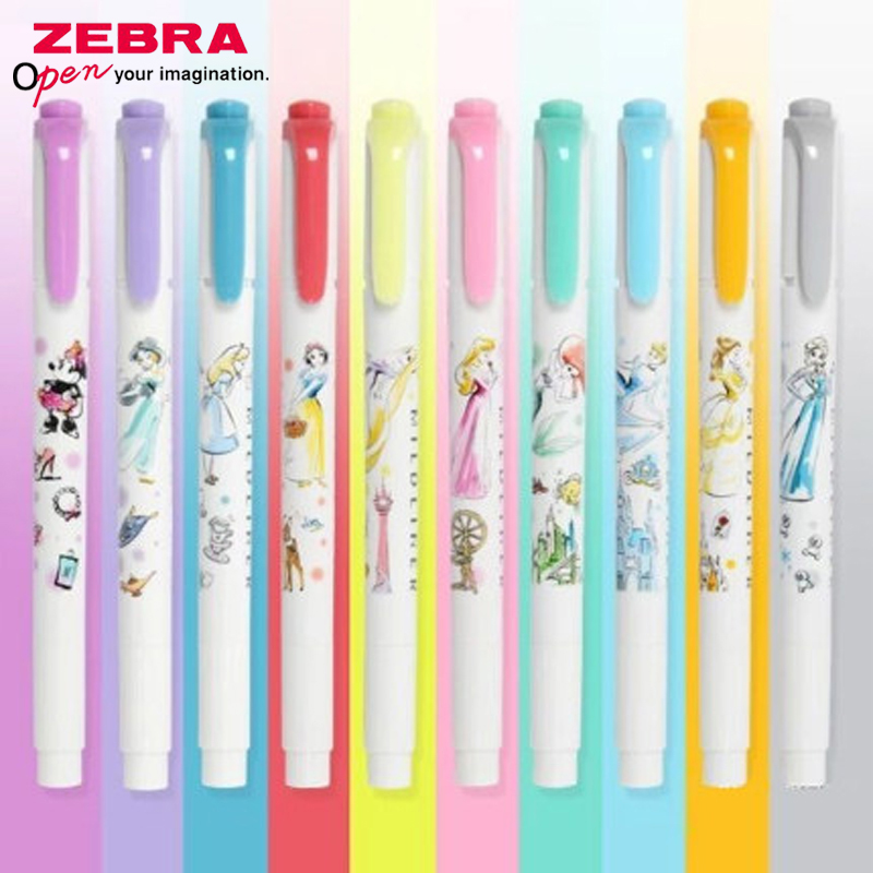 10Pcs ZEBRA Color Highlighter Disney Princess Joint Limited Edition WKT7-DS2 Light Fluorescent Double-Headed Marker