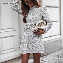 Осеннее женское платье с высоким воротником и леопардовым принтом, зима 2020, Повседневное платье с длинным пышным рукавом и поясом, элегантн...