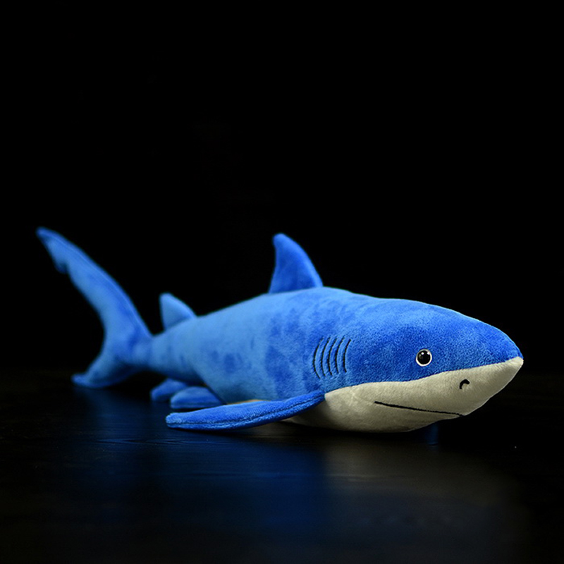 Super Soft <font><b>Blue</b></font> Shark <font><b>Plush</b></font> Toy Real Life Sea Animals Great <font><b>Blue</b></font> <font><b>Whale</b></font> Sharks Stuffed Toys Gifts For Children image