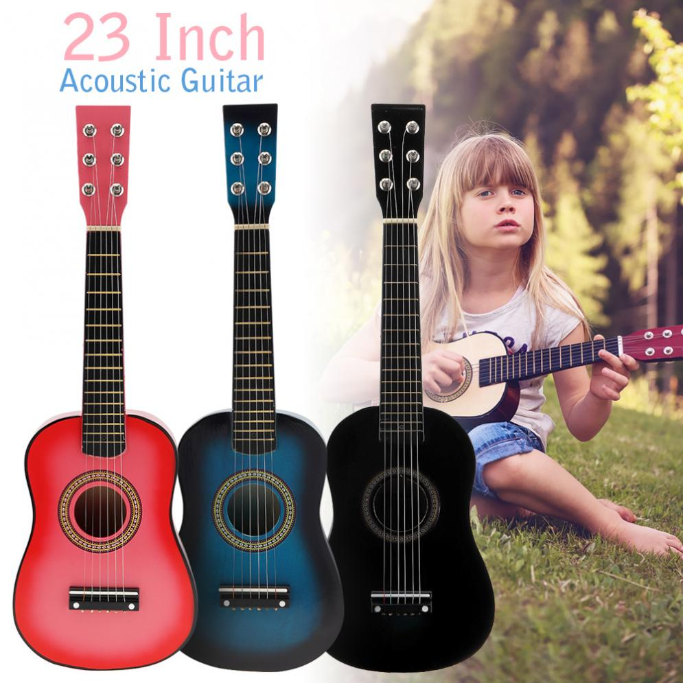 23 Inch Black Basswood Acoustic Guitar 12 Frets 6 Strings With Guitar Pick Wire Strings For Children