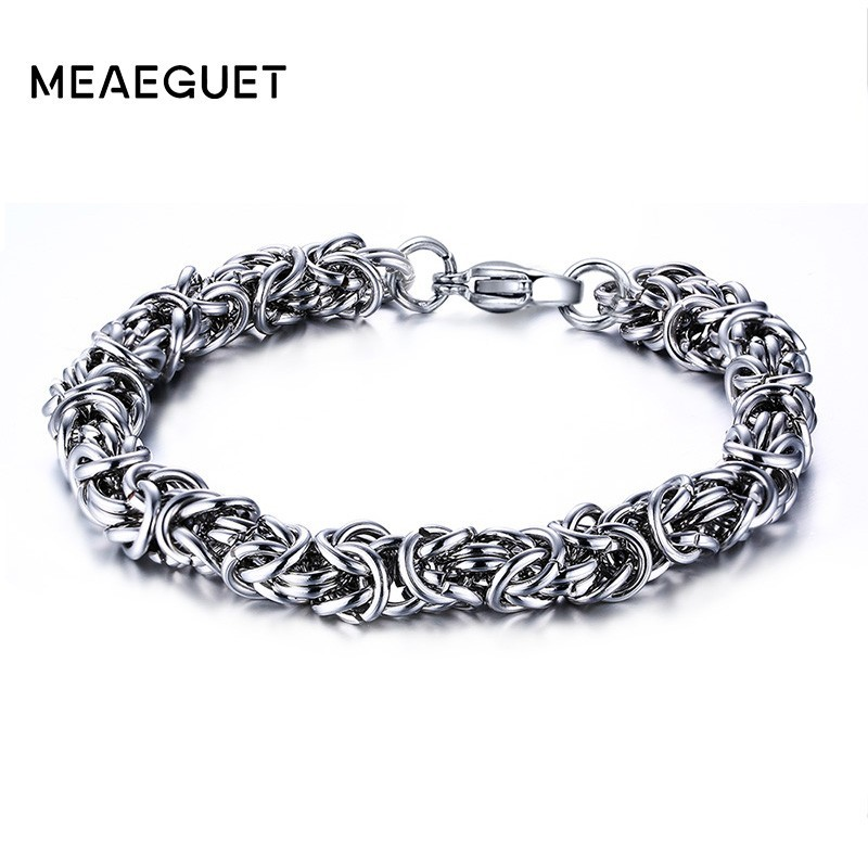 Meaeguet 7MM Wide Classic Stainless Steel Twisted Chain Strand Bracelets Bangles For Men Bracelet Pulseira Masculina