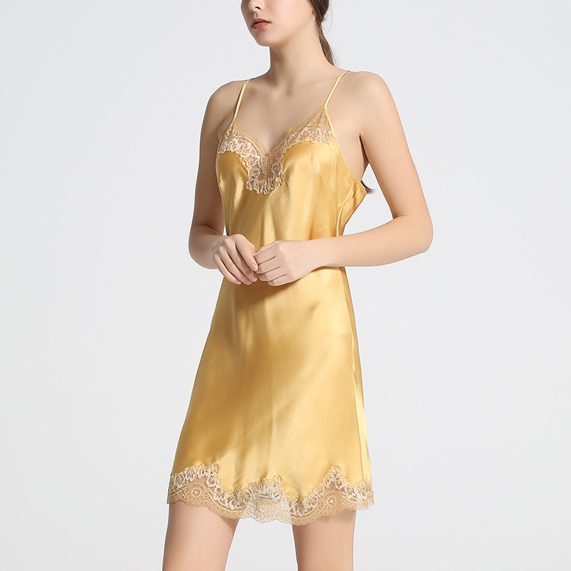 Sexy Echte Zijde Lingerie Zijden Nachthemd Vrouwen Jurk Lace Night Dress Nachtkleding Nightie Geel Satijn Homewear Dames Nachtkleding - 3