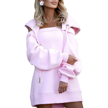 Autumn Winter Hoodie Dresses For Women Off-Shoulder Sweater Shirts Casual Oversize Vestidos Female Hoody Tops 12