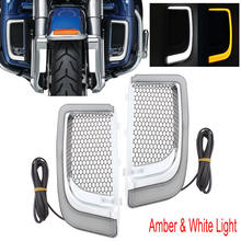 Motorcycle LED Fairing Lower Grills Turn Signal Light Or Radiator Grills For Harley Touring Street Glide Road King 2014-2019