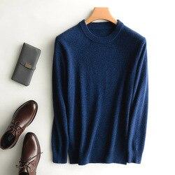 Suéter de cachemir de cabra grueso de invierno para hombre 100% pulóveres de punto puro cuello redondo 2019 ropa de manga larga otoño cálido suéter suave negro
